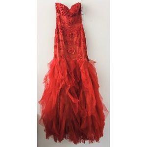 Jovani 72635A Mermaid Lace Red Dress size 4